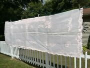 Antique Pink Tablecloth Organdy Applique Hand Stitched 102 X 62 And 9 Napkins