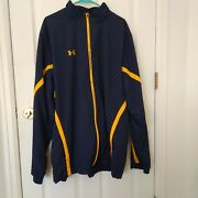 Under Armour Ua Full Zip Navy/yellow Trim Jacket Mens Size 3xl Wolverines Colors