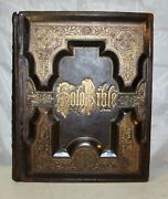 C1885 Large Antique Family Holy Bible Tooled Leather Nice