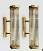 Pair Antique Old Vintage Art Deco Brass And Glass Rod Ship Light Wall Sconces Lamp