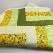 Vintage Quilt Handmade Twin Hand Sewn 85x68 Abstract Green Yellow Floral Retro