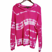 United States Sweaters Womens L Pullover Sweater Pink Tie Dye Long Sleeve Hooded