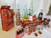 Vintage Coca Cola Cast Iron Horse Drawn Wagon With Driver And Cases Of Coke
