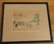 Vintage Framed Matted Japanese Print 1897 A Hunting Scene By Mitsunari