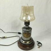 Vintage Lamp Clear Glass Flinger Handle Style Electric Leviton Pewter Working