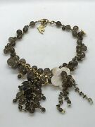 Fab Cecile Jeanne Paris Mother Of Pearl Flower W Faceted Round Crystal Necklace