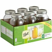 Ball Glass Mason Jar With Lid And Band Wide Mouth 64 Oz 6 Count W/cleaning