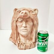 Native American Indian Chief Bear Head Bust Statue Swirl Layered Clay Resin 18lb