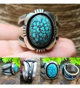 Navajo Turquoise Sterling Silver Mens Ring Signedcooper Willie Size11.25 🥰