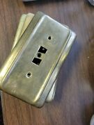 7 Vintage Light Switch Cover Electrical Plug Outlet Plate Cover Brass Metal Lot