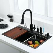 Black Kitchen Sink Single Bowl With Knife Holder Cutting Board Stainless Steel