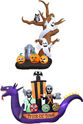 Two Halloween Party Decorations Bundle Includes 9 Foot Tall Inflatable Tree Wit