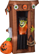 Gemmy Animated Airblown Door Opening Spooky Outhouse W/monster Scene, 6 Ft Tall,