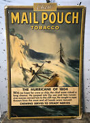 """Vtg 1930s Mail Pouch Tobacco Cardboard Advertising Sign 21"""" """"hurricane Of 1804"""""""