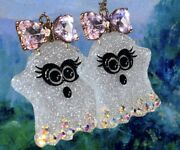 Betsey Johnson Acrylic Ghost Girl With Pink Crystal Bow Drop Earrings