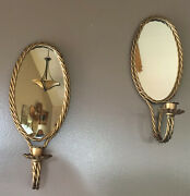 Vtg Candle Wall Sconces Mirrored Twisted Antique Gold Brass Finish Hanging Pair