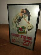 Original Lucky Strike Cigarettes Flat Fifties Sign 42.5andrdquox 28andrdquo 50 For 27c 1930s