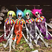 4 Hanging Skeleton Clowns Props Outdoor Halloween Haunted House Yard Decorations