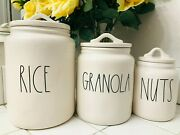 Rae Dunn Rice Granola Baby Size Nuts Canisters Jar Set With Lid Ll Farmhouse Htf