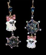 New Betsey Johnson Dangling Ghost Earrings With Pink Crystal Bow And Spider Web