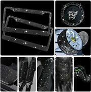 Luxury Rhinestone License Plate Frame Bling Car Accessories For Women Black 11pc