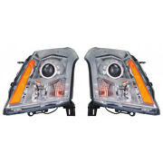 For Cadillac Srx Headlight Assembly 2014 2015 2016 Pair Rh And Lh Side Halogen