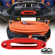Orange Synthetic Winch Rope 3/8 95and039 22000lb Recovery And Hawse Fairlead 10 Mount