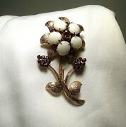 Vintage 14k Gold Fire Opal And Ruby Flower Pin Brooch 60's Or Earlier Retro