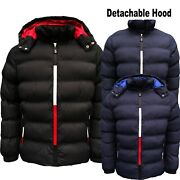 Mens Puffer Jacket Coat Detachable Hooded Quilted Padded Lined Winter Warm New