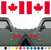 Set Of 2 Canadian Flag Decals Sticker Left Right Side Vinyl Many Sizes Colors