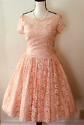 Vintage 50s Dress Pink Lace Party Prom Full Shirt S