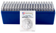 2021 1 Silver American Eagle Type 2 Pcgs Ms70 Fs - Blue Flag Label - Tray Of 20
