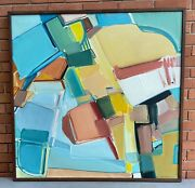 Vintage 70s Abstract Shapes Oil Painting Mid Century Modern Wall Art Fitzgerald