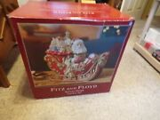 Fitz And Floyd Santa's Sleigh Cookie Jar New In Open Box