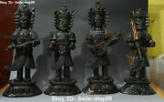 14 Collect Natural Bull Ox Horn 4 Heavenly Kings God Buddha Antique Statue Set