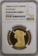 Egypt Gold 100 Pounds Queen Cleopatra 1984 - Ngc Pf 68 Uc Rare