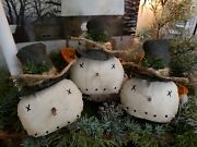 Primitive Snowmen Ornies Set Of 3 Christmas Decor 5 Inches X 3 Inches
