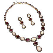 925 Sterling Silver Rose Cut Diamond Ruby Necklace Victorian Style Women Jewelry