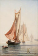 Henri Cassinelli French 19th C. Marine Maritime Oil Painting Boats Sea Ship Wind