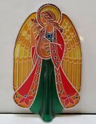 Vintage Christmas Hallmark Tree Topper Acrylic Stained Glass Style Angel 1979