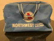 Vintage Early Blue Northwest Orient Airlines Travel Bag Carry On Tote Rare