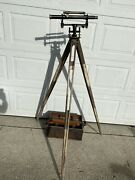 Antique Queen And Co. Philadelphia Brass Transit With A Box And Tripod