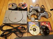 Sony Playstation 1 Ps1 Console + Games Memory Cards 3 Controllers Lot Bonus Set