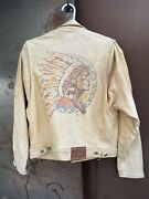 Very Rare 1990 Vintage Polo Country Native American Leather Jacket