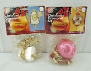 2 Vintage Walco 1970s Sequin Beaded Christmas Ornament Kits Pink White Gold