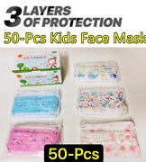 50-pcs Kids Children Animal Print 3-ply Disposable Face Mask Earloop Mouth Cover
