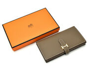 Hermes Ba And Ethoup Gd Gold Bracket A-engraved Wallet Two-fold Unisex Menand039s