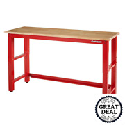 6' Adjustable Height Solid Wood Top Workbench Garage Storage Chest Tool Box Red