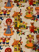 Vintage Lightweight Barkcloth Fabric Mother Goose Nursery Rhymes Bright Colors