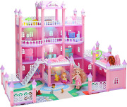 Doll House For Girls, Large 4 Storey Diy Building Toy Set Deluxe Villa Play Toy